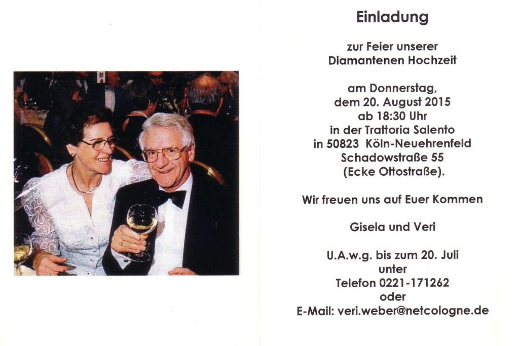 www.veriweber.de - Diamantene Hochzeit 20.08.15